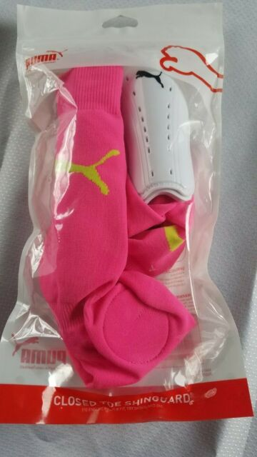 9bbeef9a0400 PUMA Soccer Closed Toe Removeable Shin Guard Sock Combo Youth Xs/s Pink 2x