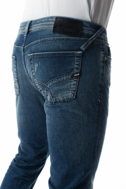 JEANS GAS ALBERT W179 NEW SKINNY PANTALONE DENIM SLIM PARTICOLARE