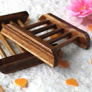 Image is loading Natural-Bamboo-Soap-Holder-Dish-Bathroom-Shower-Plate- & Natural Bamboo Soap Holder Dish Bathroom Shower Plate Stand Storage ...