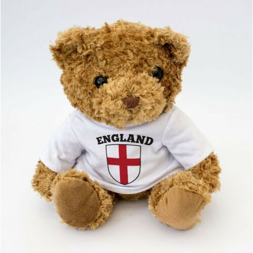 NEW - England Flag St Georges Cross Teddy Bear - Football Rugby Fan Gift