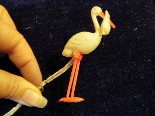 """Vintage Celluloid 3/"""" Stork Delivering Baby Gift Chenille Stem Shower Favor B21"""