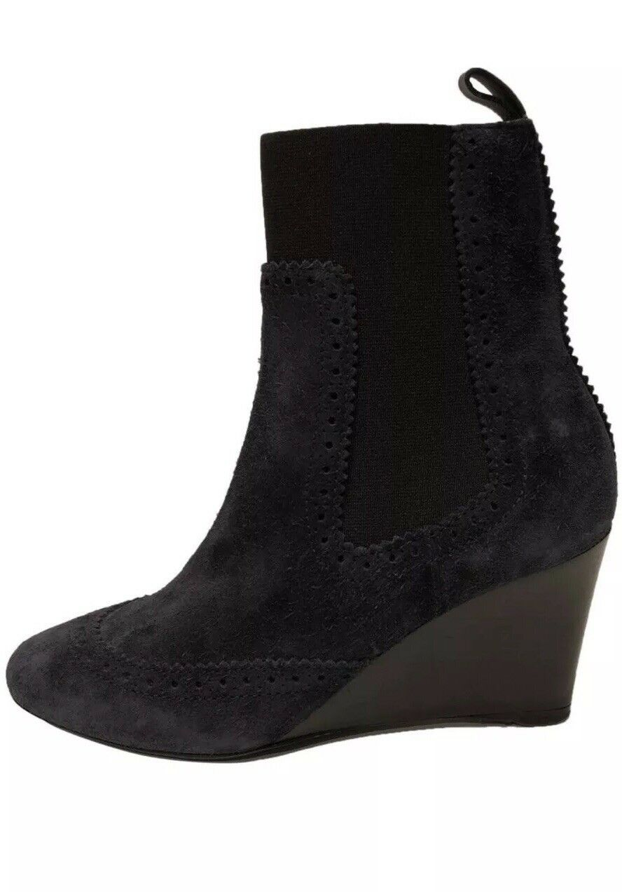 Balenciaga New  860 Wedge Suede Leather Navy Ankle Boots (Size  36EU)