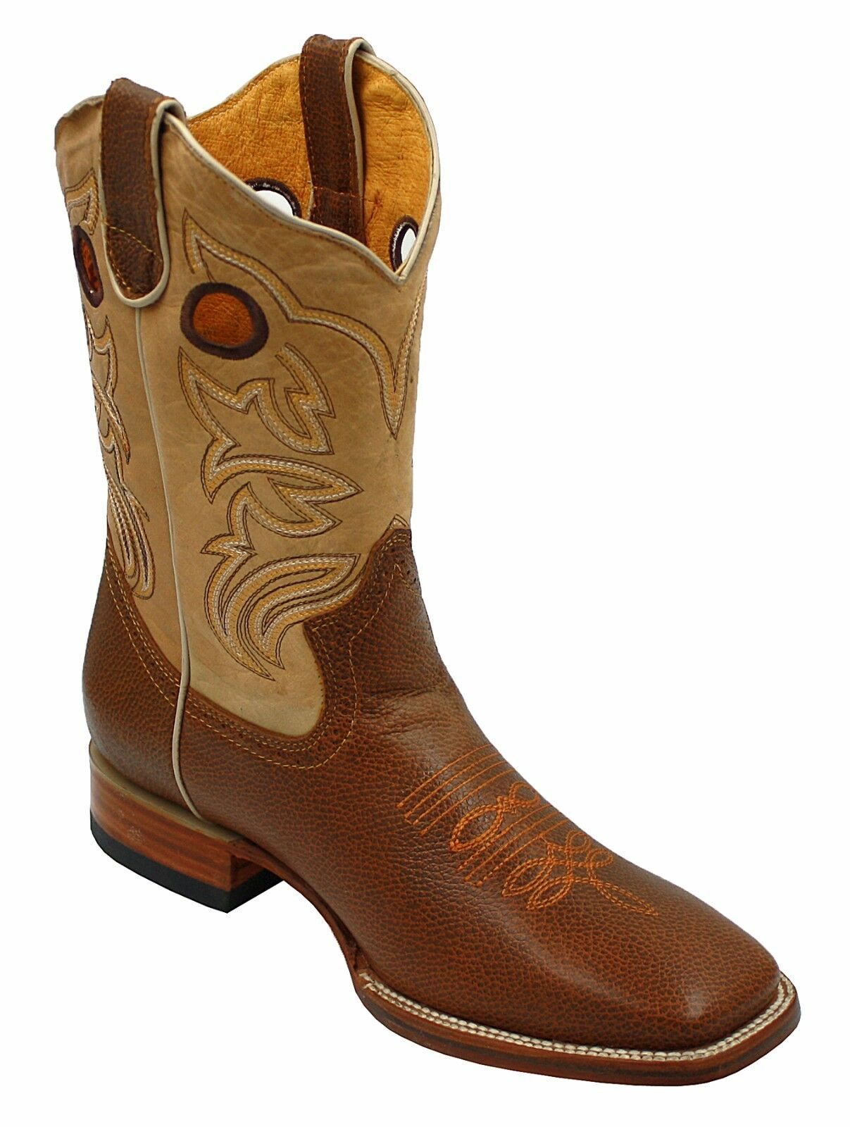 Uomo Genuine Toe Cowhide Pelle Square Toe Genuine Rodeo Western Stivali with Pelle sole e4b8b5