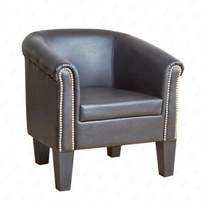 Superbe Image Is Loading Stylish Club Tub Chair Rivets Armchair PU Leather