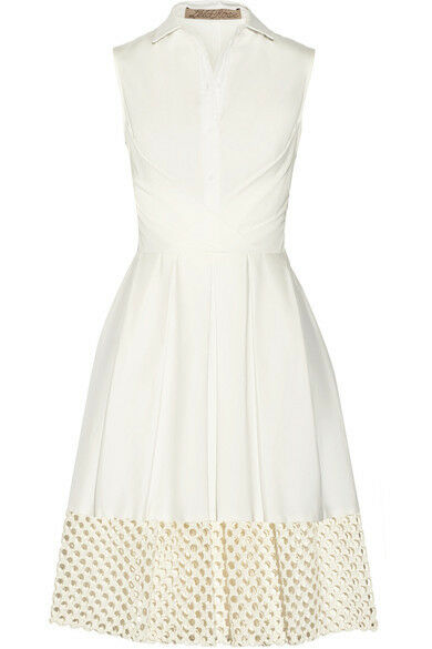 Neu Lela Rosa Weiß Elfenbein Creme Ausschnitt Guipure Spitze Popelin Shirt Kleid