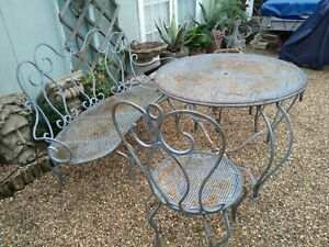 Details about Vintage ornate french garden table and chairs set / salon de  jardin