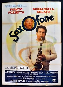 Werbeplakat Saxofone Renato Cockpit Mariangela Melato Enzo Jannacci Teocoli M303