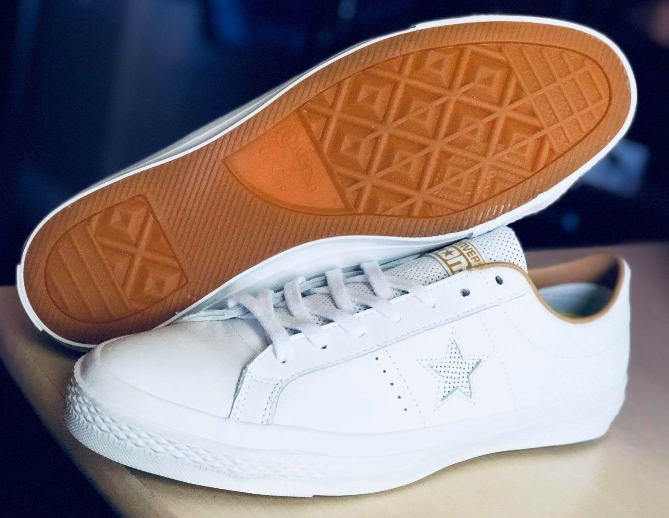 Converse One Star WHITE LEATHER Low Top Oxford SHOES SIZE MENS 9 153700C