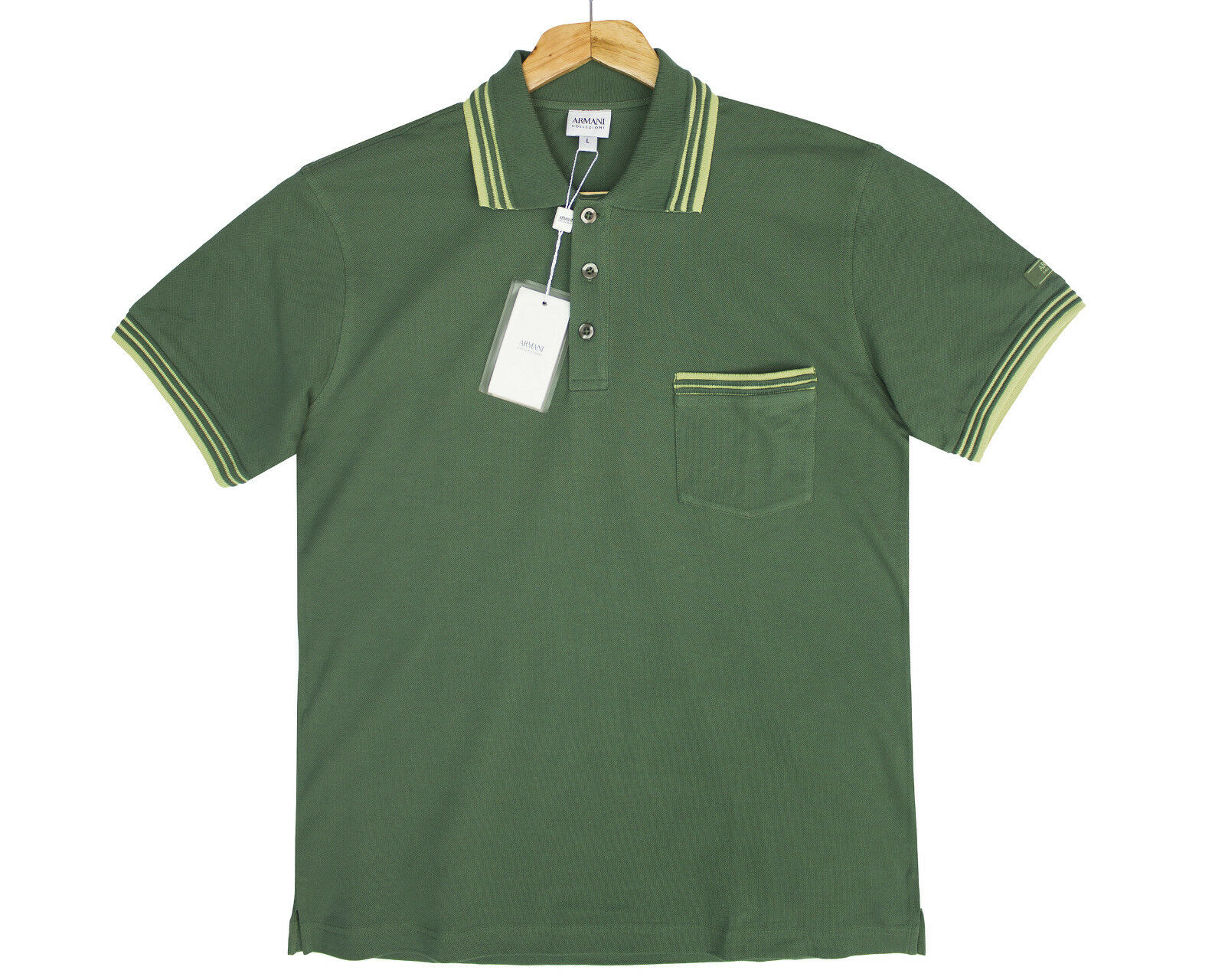 ARMANI COLLEZIONI Verde Polo T Shirt Shirt Shirt dettaglio tasca taglia L 47b554