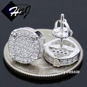 MEN 925 STERLING SILVER 10MM LAB DIAMOND ROUND SCREW BACK GOLD STUD EARRING*E144