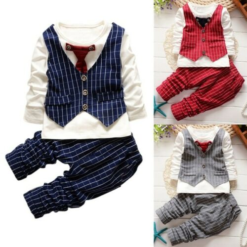 2pcs Gentleman Suit Newborn Baby Boy Checked Top Striped Trousers Wedding Outfit