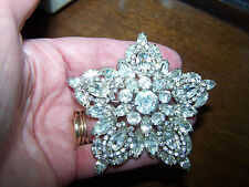 Vintage Large Juliana Star Shaped Clear Rhinestone Brooch - Nice! - H17
