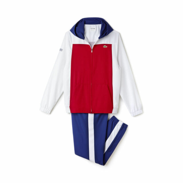 f9fd5ee0 LACOSTE MEN'S SPORT TENNIS COLOR BLOCK TRACKSUIT TOP & BOTTOM WHITE-BLUE-RED