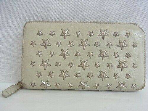 Auth QX9 JIMMY CHOO Carnaby Round zipper wallet st