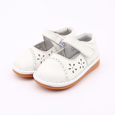 Girl's Infant Toddler Childrens Squeaky Shoes White Real Leather Mary Jane Style