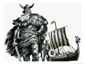 Framed Print - Viking Warriors with There Long Boat ...