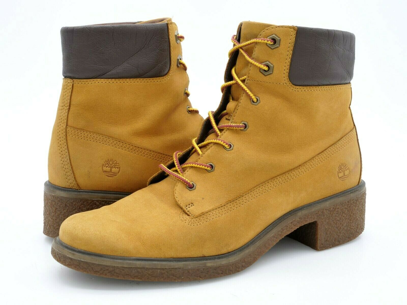 Timberland Womens 9W Brinda Brown Leather Lace Up Combat Low Heel Boots EUR 40