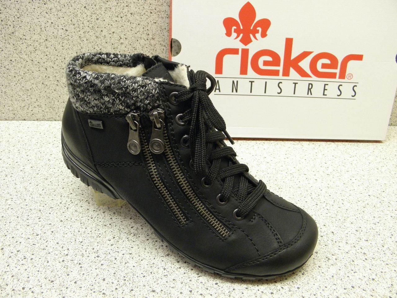 rieker ® reduziert Top Preis   Weit Topmodisch  schwarz TEX  (R412)