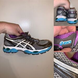 Asics Gel Nimbus 14 Womens Size 8.5 Running Shoes Gray Comfort Logo Lace Up