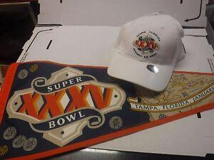 Super-Bowl-XXXV-Lot-Of-Pennant-amp-Baseball-Cap-Hat-Tampa-2001-jh