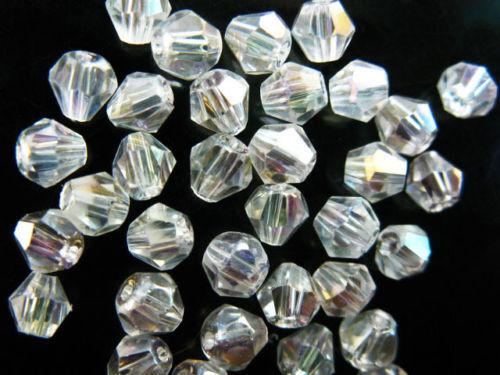 Pretty 200Pcs verre cristal à facettes Bobine biconique Perles 4 mm Loose Spacer Findings