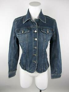 A-M-I-Women-039-s-sz-S-Blue-Button-Front-Pockets-Long-Sleeve-Denim-Jacket