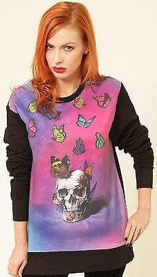 METAMORPHOSIS BUTTERFLY SKULL BLACK PINK SWEATER VEST T-SHIRT JUMPER SEXY GOTHIC