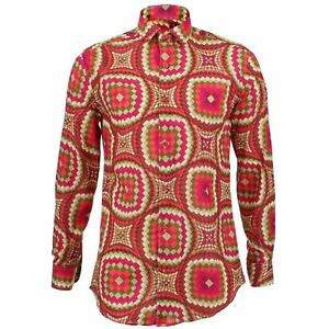 Mens-Shirt-Loud-Originals-TAILORED-FIT-Illusion-Red-Retro-Psychedelic-Fancy