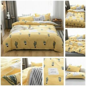 Yellow Cactus Doona Duvet Quilt Cover Set Single Queen King Size Bed Pillowcase