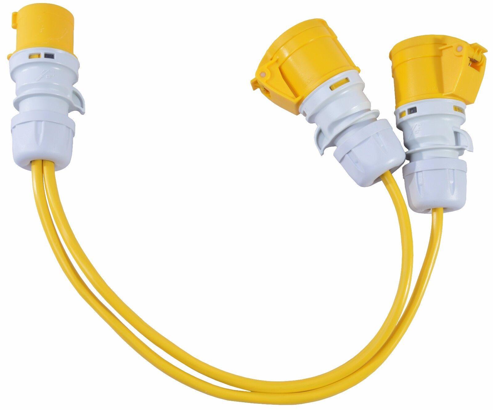 16 Amp Marina Mains Plug 3 Way Splitter