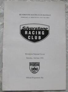 SILVERSTONE 3 Jun 1995 BRDC Racing Club Raceday Official Programme
