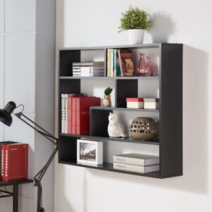 Image is loading Black-Floating-Wall-Shelf-Unit-Asymmetrical-6-Cubby- & Black Floating Wall Shelf Unit Asymmetrical 6-Cubby Storage Display ...
