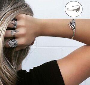Bohemian-Vintage-Flower-Statement-Women-Charm-Cuff-Bangle-Bracelet-Jewelry-G-fd