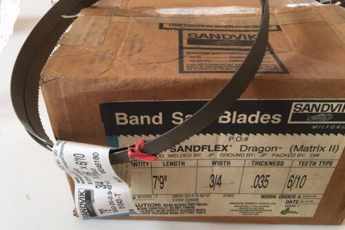 """Sandvik Dragon Matrix II 3850 Sandflex 7/' 9/"""" X 3//4/"""" X .035/"""" 6//10 T  Band Saw"""