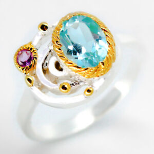 Silberschmuck-Jewelry-Natural-Blue-Topaz-925-Sterling-Silver-Ring-RVS15