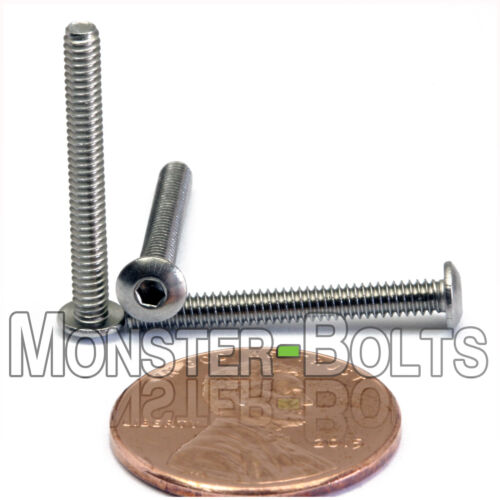 "Stainless Steel BUTTON HEAD Socket Cap Screws A2-70 18-8 #3-48 x 7//8/"" QTY 10"