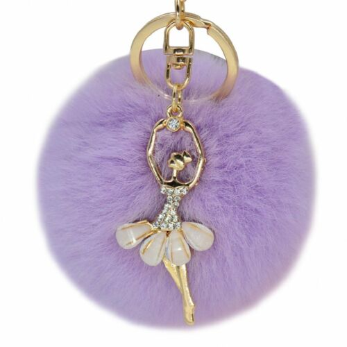 Dancing Angel portachiavi carino Ciondolo Lucky pon pon pelliccia Palla Strass Regalo di Natale