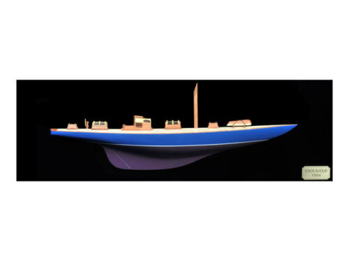 HANDCRAFTED WOODEN ENDEAVOUR PAINTED HALF HULL MODEL YACHT 90CM