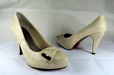 Elegante Damen Abendschuhe Pumps High Heels Gr.36-40 Beige Neu A.2011-12