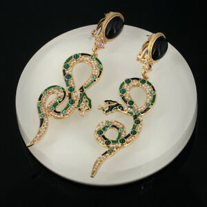 Pendientes-CLIPS-ON-NO-AVANCE-Serpiente-Largo-Perla-Esmalte-Verde-Negro-QD2