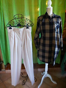 lot-2pieces-femme-corsage-tunique-pantalon-beige