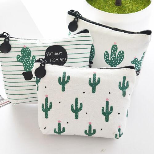 Damen Kaktus Muster Mini Münzbörse Kleine Geldbörse Kleingeldbeutel Portmonee