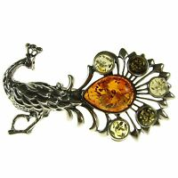 Gift Boxed Baltic Amber Sterling Silver 925 Peacock Brooch Pin Jewellery Jewelry