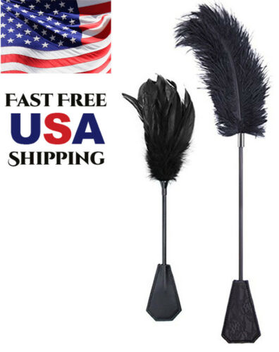 2x Flirting Ostrich Feathers Flogger Black Feather Ring Featherweight Fan Game