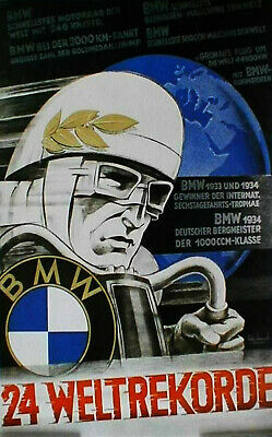 "1934 BMW german poster cafe racer art  print vintage  for glass frame 36/"" x 24/"""