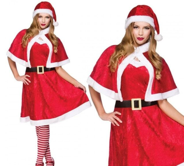 Deluxe Mrs Santa Claus Adult Womens Christmas Day Fancy Dress Costume Specs