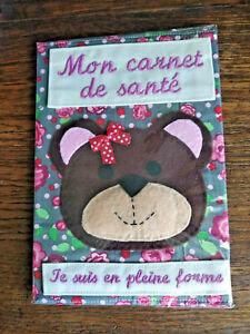 Protege-carnet-de-sante-034-Je-suis-en-pleine-forme-034-decor-ours-fait-main-neuf