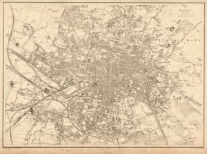 LEEDS Large towncity plan by BR DAVIES for the Dispatch Atlas 1863