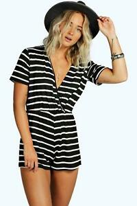 a072f0f4724 Image is loading Boohoo-Wrap-Front-Cap-Sleeve-Striped-Playsuit-Size-