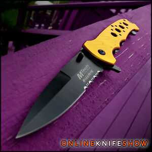 MTECH TACTICAL SPRING ASSISTED OPENING KNIFE Folding Pocket Blade GOLD RESCUE